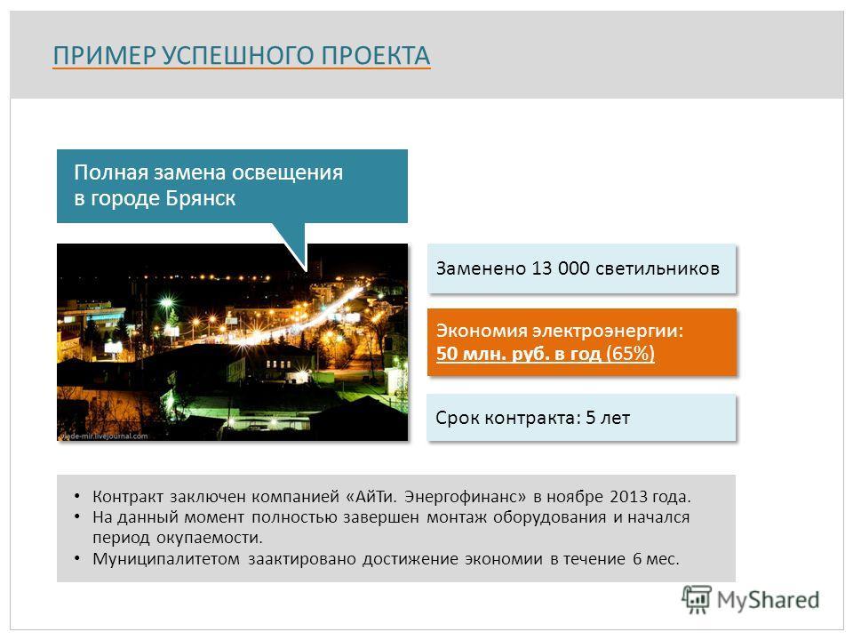 ПРИМЕР УСПЕШНОГО ПРОЕКТА Заменено 13 000 светильников Экономия электроэнергии: 50 млн. руб. в год (65%) Экономия электроэнергии: 50 млн. руб. в год (65%) Полная замена освещения в городе Брянск Срок контракта: 5 лет Контракт заключен компанией «АйТи.