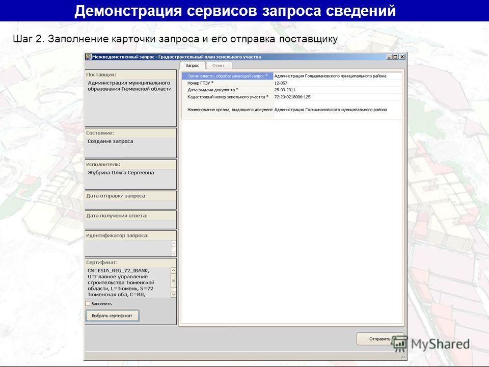 Шаг 2. Заполнение карточки запроса и его отправка поставщику Демонстрация сервисов запроса сведений