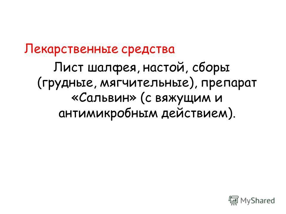 Лекарственные средства Лист шалфея, настой, сборы (грудные, мягчительные), препарат «Сальвин» (с вяжущим и антимикробным действием).