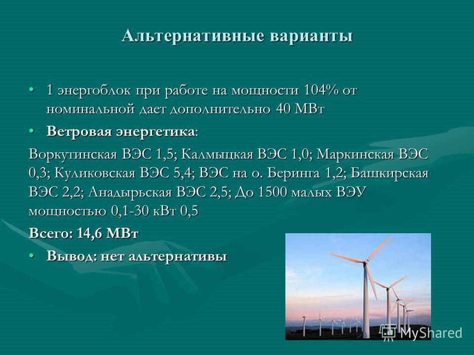 Альтернативные варианты 1 энергоблок при работе на мощности 104% от номинальной дает дополнительно 40 МВт1 энергоблок при работе на мощности 104% от номинальной дает дополнительно 40 МВт Ветровая энергетика:Ветровая энергетика: Воркутинская ВЭС 1,5;