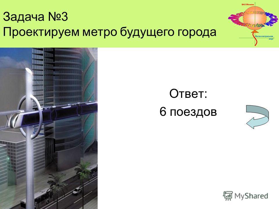 Задача 3 Проектируем метро будущего города Ответ: 6 поездов