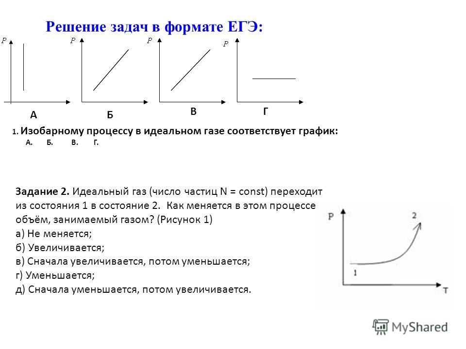 Решение задач в формате ЕГЭ: Задание 2. Идеальный газ (число частиц N = const) переходит из состояния 1 в состояние 2. Как меняется в этом процессе объём, занимаемый газом? (Рисунок 1) а) Не меняется; б) Увеличивается; в) Сначала увеличивается, потом