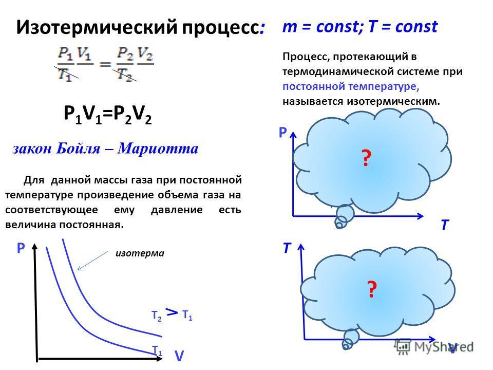 Изотермический процесс: T 1 T 2 T 2 T 1 Процесс, протекающий в термодинамической системе при постоянной температуре, называется изотермическим. закон Бойля – Мариотта Для данной массы газа при постоянной температуре произведение объема газа на соотве