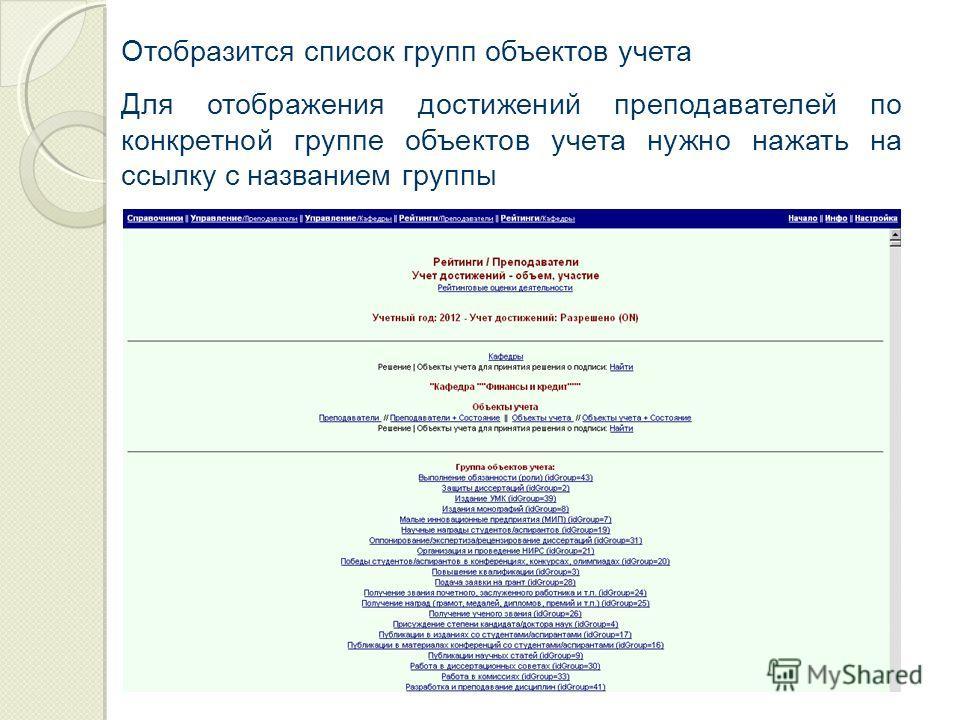 Отобразится список групп объектов учета Для отображения достижений преподавателей по конкретной группе объектов учета нужно нажать на ссылку с названием группы