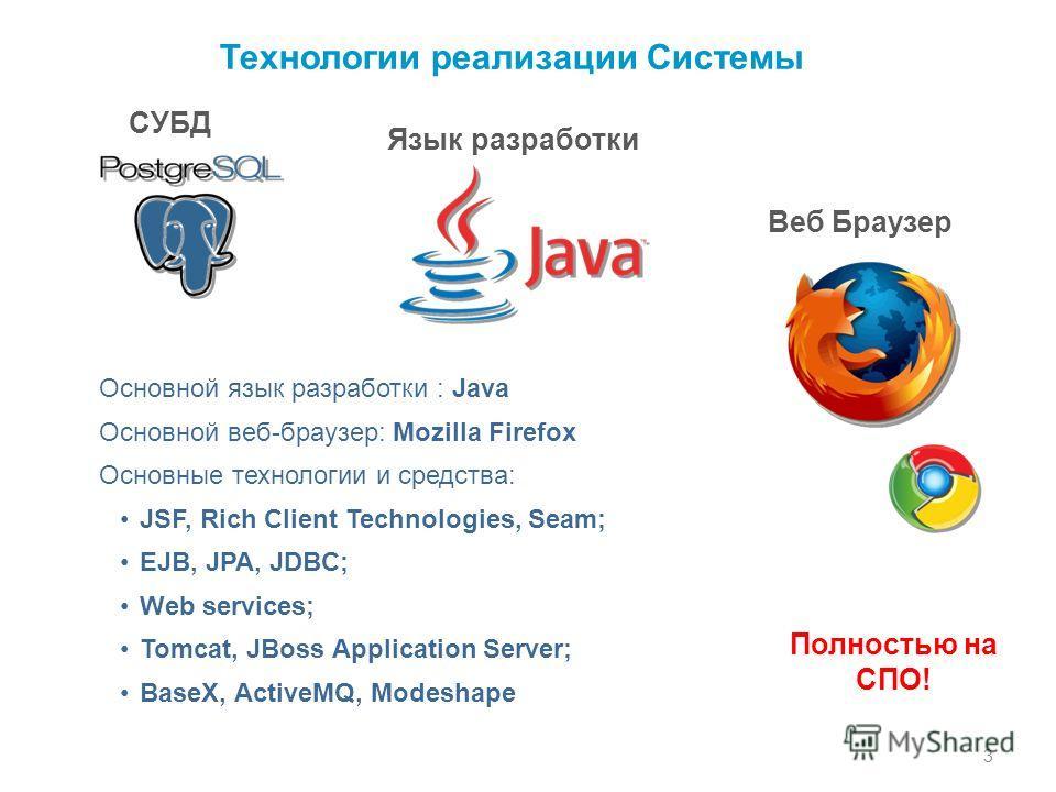 Технологии реализации Системы СУБД Язык разработки Основной язык разработки : Java Основной веб-браузер: Mozilla Firefox Основные технологии и средства: JSF, Rich Client Technologies, Seam; EJB, JPA, JDBC; Web services; Tomcat, JBoss Application Serv