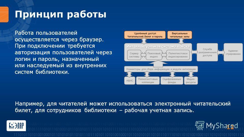 Принцип работы Работа пользователей осуществляется через браузер. При подключении требуется авторизация пользователей через логин и пароль, назначенный или наследуемый из внутренних систем библиотеки. 12 Например, для читателей может использоваться э