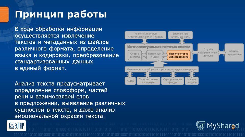 Принцип работы В ходе обработки информации осуществляется извлечение текстов и метаданных из файлов различного формата, определение языка и кодировки, преобразование стандартизованных данных в единый формат. Анализ текста предусматривает определение