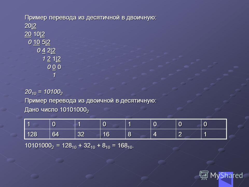 Примеры Из шестнадцатеричной в двоичную: D = 1101 2. 2A = 0010 1010 2 =101010 2. 58 16 = 0101 1000 2 = 1011000 2. B6 = 1011 0110 2. Из двоичной в шестнадцатеричную: 1101 2 = D. 101010 2 = 0010 1010 2 = 2A. 1011000 2 = 0101 1000 2 = 58 16. 10110110 2
