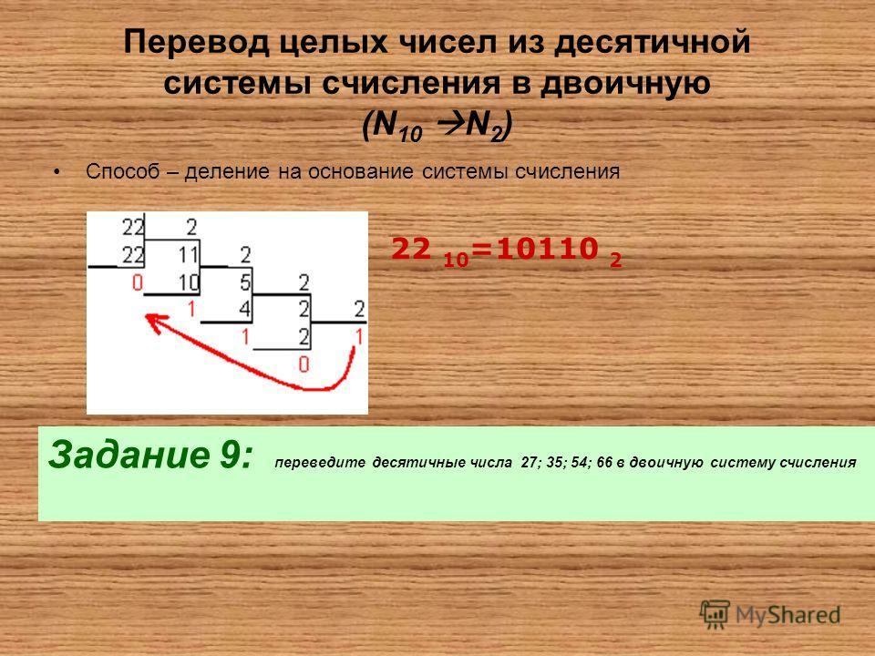 Перевод целых чисел из десятичной системы счисления в двоичную (N 10 N 2 ) Способ – деление на основание системы счисления 22 10 =10110 2 Задание 9: переведите десятичные числа 27; 35; 54; 66 в двоичную систему счисления