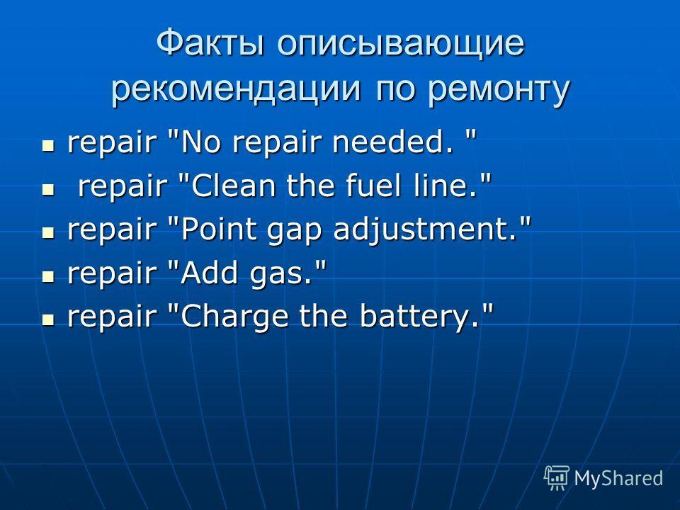 Факты описывающие рекомендации по ремонту repair