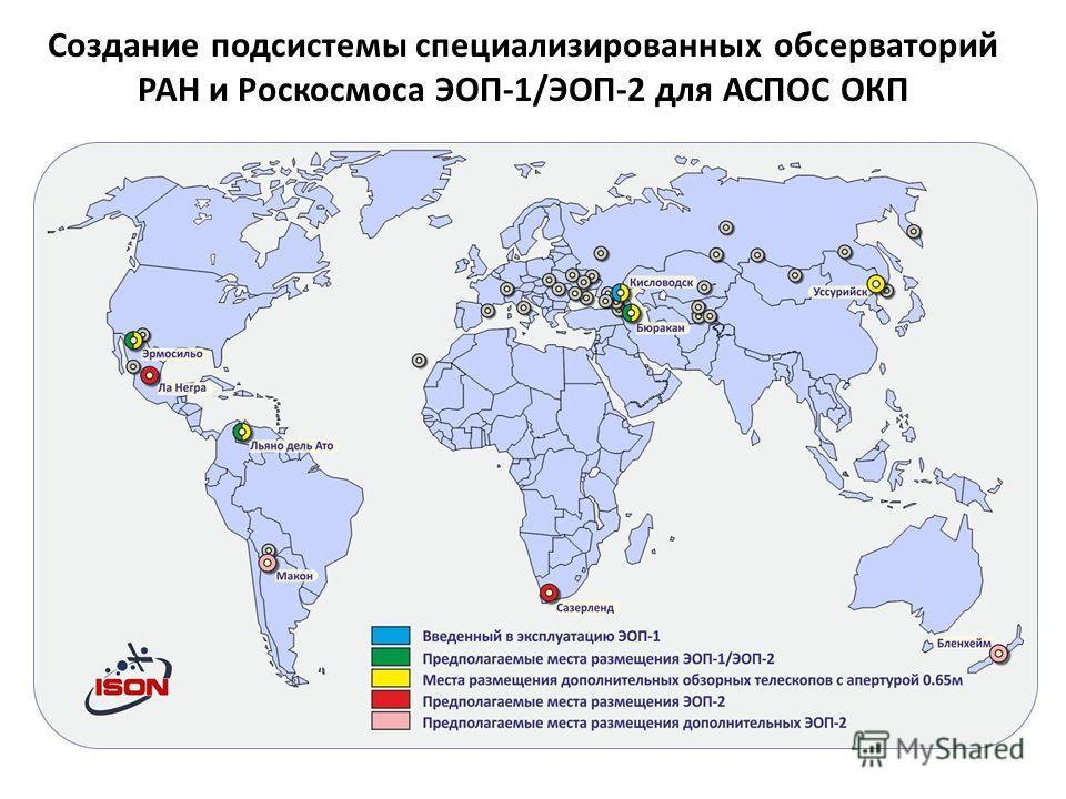 Создание подсистемы специализированных обсерваторий РАН и Роскосмоса ЭОП-1/ЭОП-2 для АСПОС ОКП