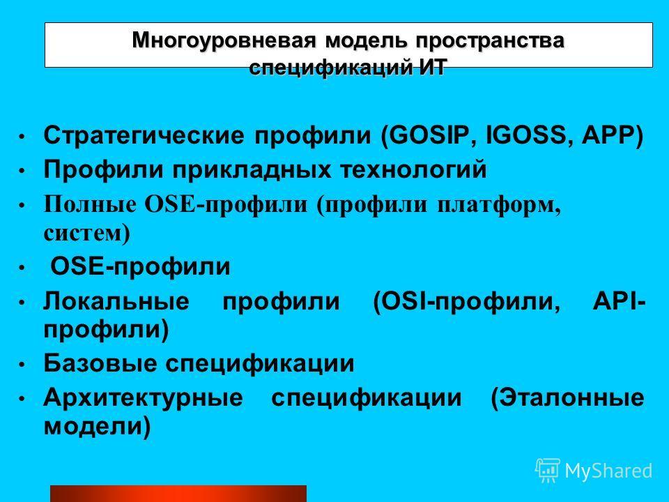 Многоуровневая модель пространства спецификаций ИТ Стратегические профили (GOSIP, IGOSS, APP) Профили прикладных технологий Полные OSE-профили (профили платформ, систем) OSE-профили Локальные профили (OSI-профили, API- профили) Базовые спецификации А