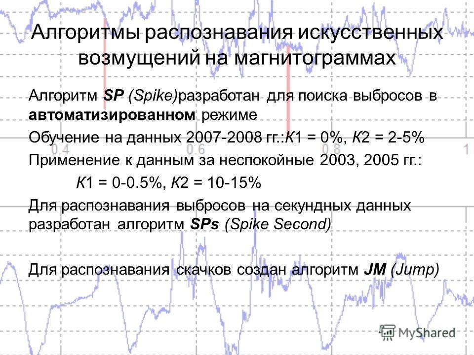Алгоритмы распознавания искусственных возмущений на магнитограммах Алгоритм SP (Spike)разработан для поиска выбросов в автоматизированном режиме Обучение на данных 2007-2008 гг.:К1 = 0%, К2 = 2-5% Применение к данным за неспокойные 2003, 2005 гг.: К1
