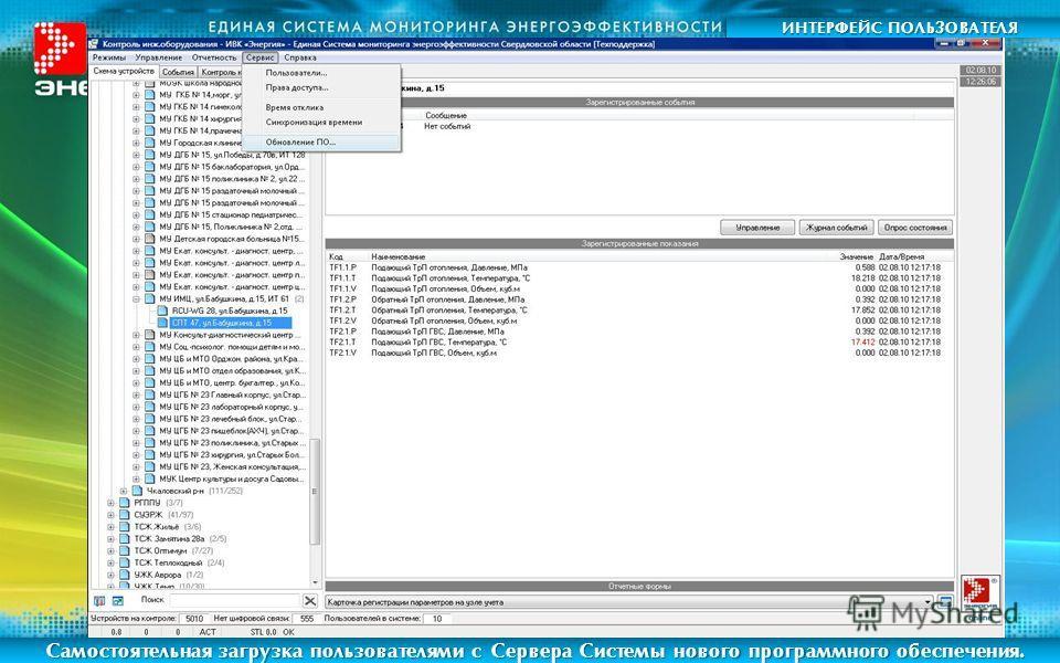 ИНТЕРФЕЙС ПОЛЬЗОВАТЕЛЯ Самостоятельная загрузка пользователями с Сервера Системы нового программного обеспечения.