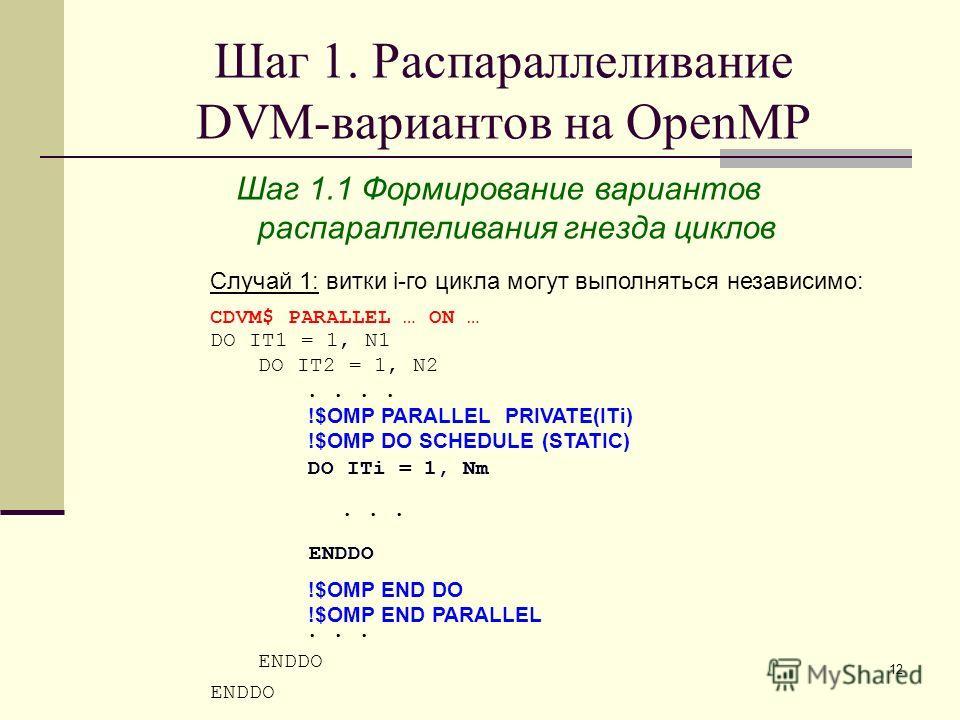 12 Шаг 1. Распараллеливание DVM-вариантов на OpenMP CDVM$ PARALLEL … ON … DO IT1 = 1, N1 DO IT2 = 1, N2..... ENDDO !$OMP PARALLEL !$OMP DO SCHEDULE (STATIC) !$OMP END DO !$OMP END PARALLEL Случай 1: витки i-го цикла могут выполняться независимо: ENDD