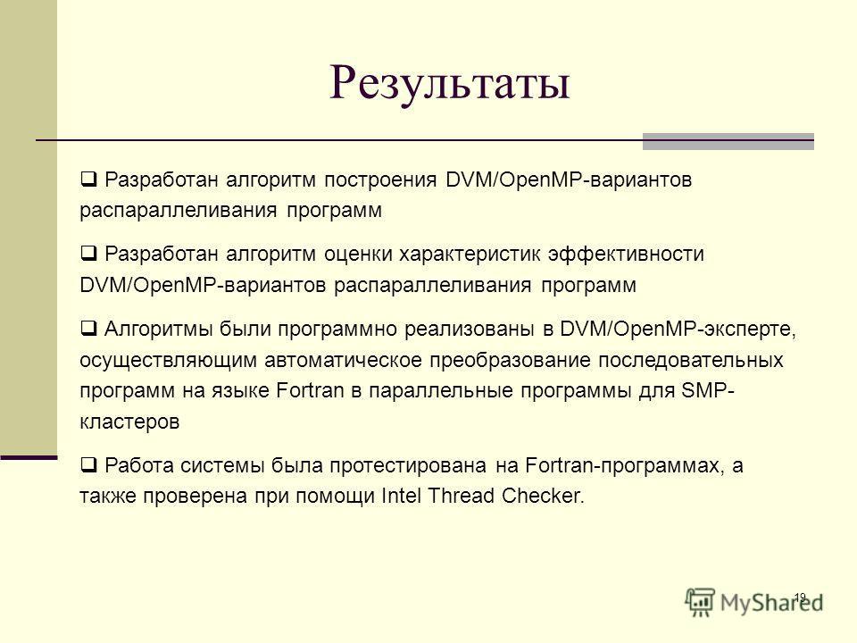19 Результаты Разработан алгоритм построения DVM/OpenMP-вариантов распараллеливания программ Разработан алгоритм оценки характеристик эффективности DVM/OpenMP-вариантов распараллеливания программ Алгоритмы были программно реализованы в DVM/OpenMP-экс