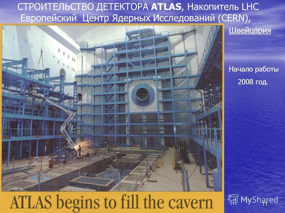 11 СТРОИТЕЛЬСТВО ДЕТЕКТОРА ATLAS, Накопитель LHC Европейский Центр Ядерных Исследований (CERN), Швейцария Начало работы 2008 год.