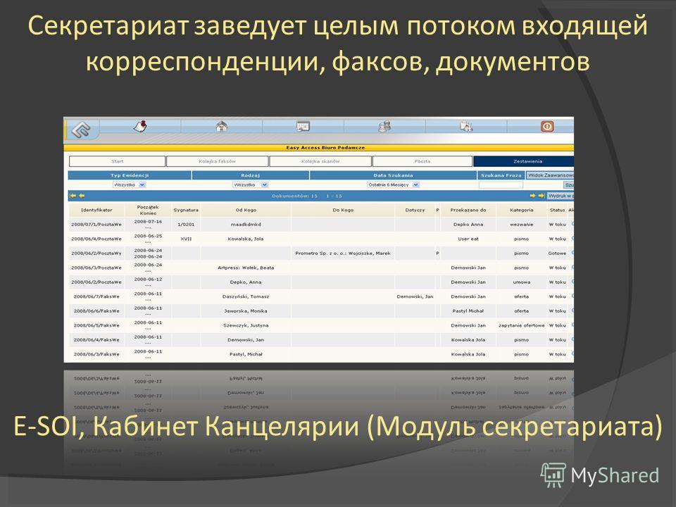 Секретариат заведует целым потоком входящей корреспонденции, факсов, документов E-SOI, Кабинет Канцелярии (Модуль секретариата)