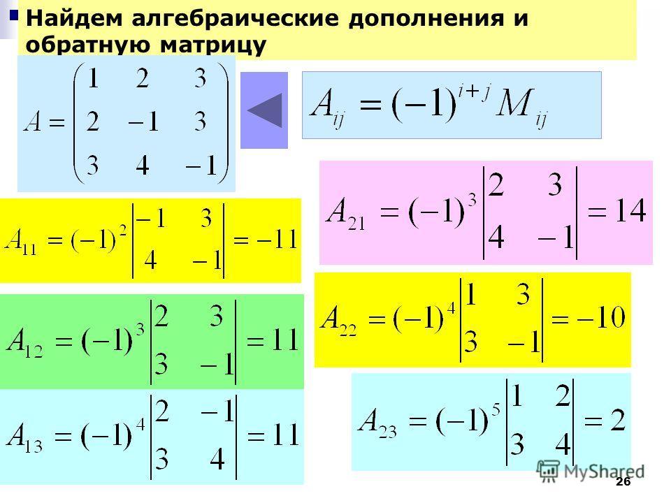 26 Найдем алгебраические дополнения и обратную матрицу