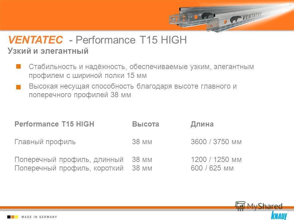 Стабильность и надёжность, обеспечиваемые узким, элегантным профилем с шириной полки 15 мм Высокая несущая способность благодаря высоте главного и поперечного профилей 38 мм VENTATEC - Performance T15 HIGH Узкий и элегантный Performance T15 HIGHВысот