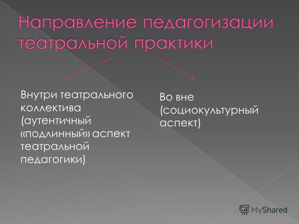 Внутри театрального коллектива (аутентичный «подлинный» аспект театральной педагогики) Во вне (социокультурный аспект)