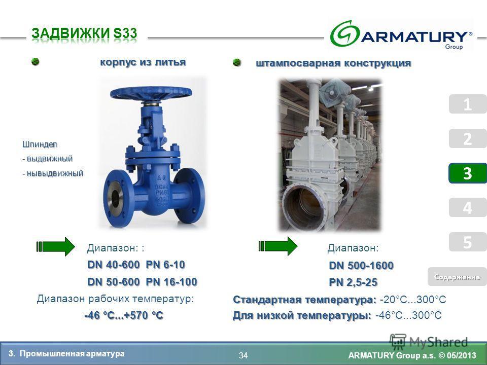 Диапазон: : Диапазон: DN 40-600 PN 6-10 DN 40-600 PN 6-10 DN 50-600 PN 16-100 DN 50-600 PN 16-100 Диапазон рабочих температур: -46 °C...+570 °C -46 °C...+570 °C ARMATURY Group a.s. © 05/2013 корпус из литья корпус из литья DN 500-1600 PN 2,5-25 Станд
