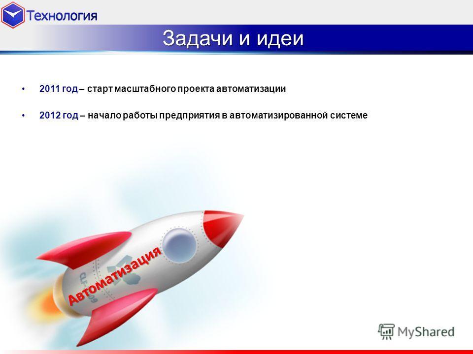 2011 год – старт масштабного проекта автоматизации 2012 год – начало работы предприятия в автоматизированной системе Задачи и идеи Автоматизация