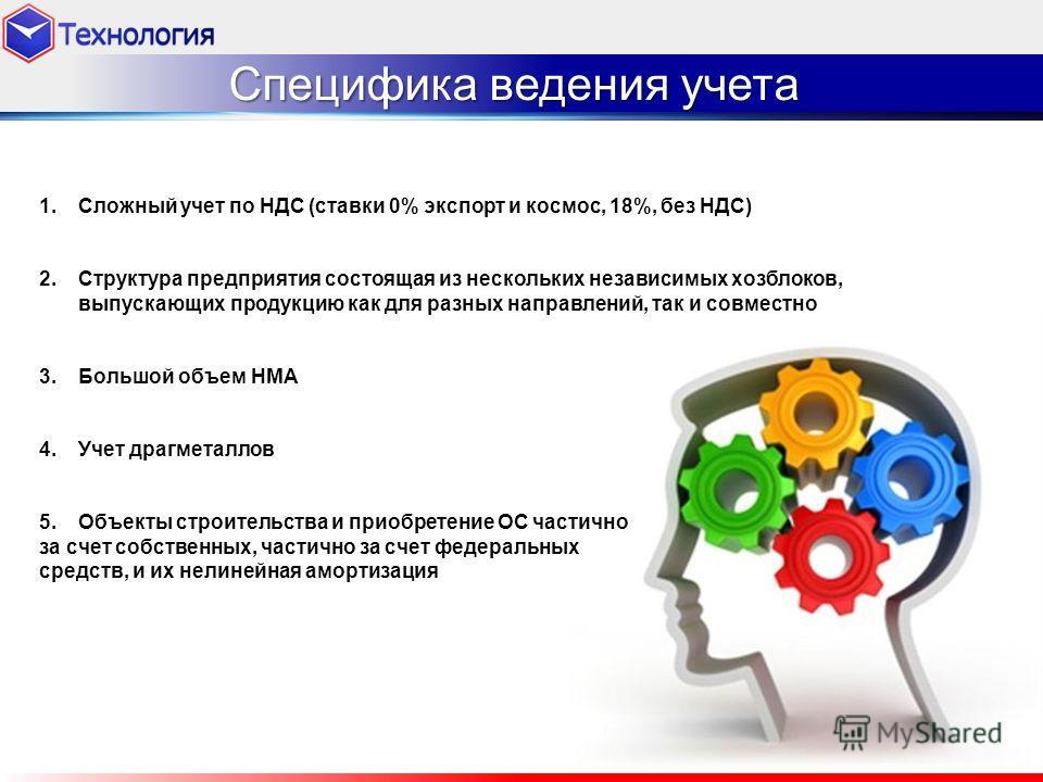 Специфика ведения учета 1.Сложный учет по НДС (ставки 0% экспорт и космос, 18%, без НДС) 2.Структура предприятия состоящая из нескольких независимых хозблоков, выпускающих продукцию как для разных направлений, так и совместно 3.Большой объем НМА 4.Уч