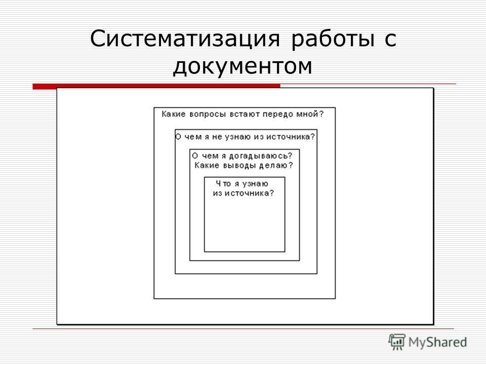 Систематизация работы с документом