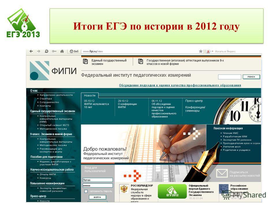 Итоги ЕГЭ по истории в 2012 году