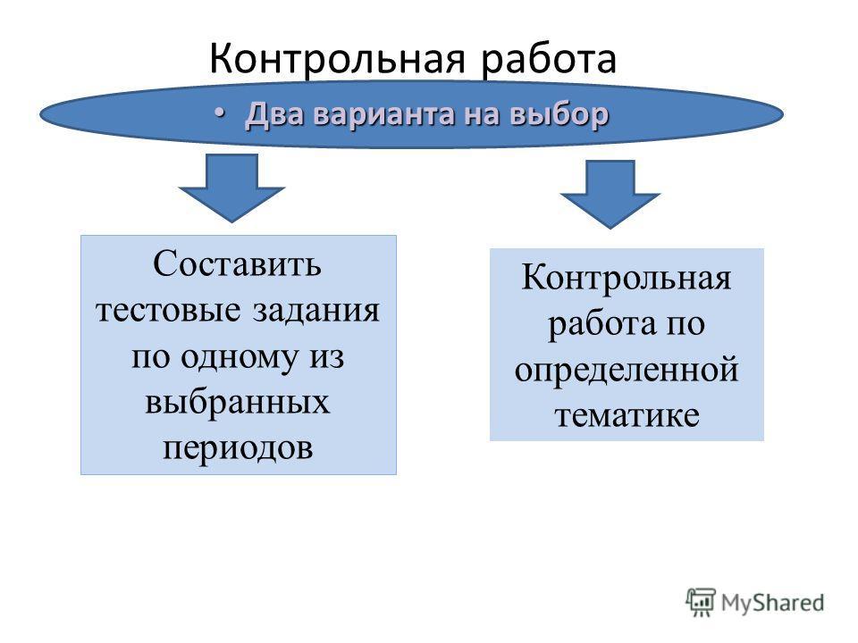 Два варианта на выбор Два варианта на выбор Составить тестовые задания по одному из выбранных периодов Контрольная работа по определенной тематике