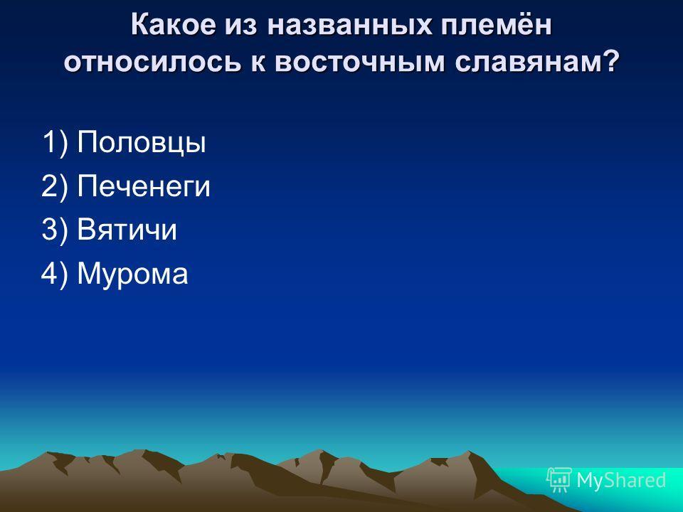Какое из названных племён относилось к восточным славянам? 1) Половцы 2) Печенеги 3) Вятичи 4) Мурома