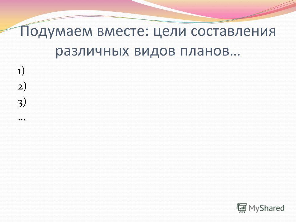 Подумаем вместе: цели составления различных видов планов… 1) 2) 3) …