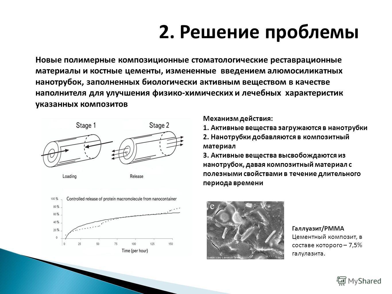 2. Решение проблемы Новые полимерные композиционные стоматологические реставрационные материалы и костные цементы, измененные введением алюмосиликатных нанотрубок, заполненных биологически активным веществом в качестве наполнителя для улучшения физик