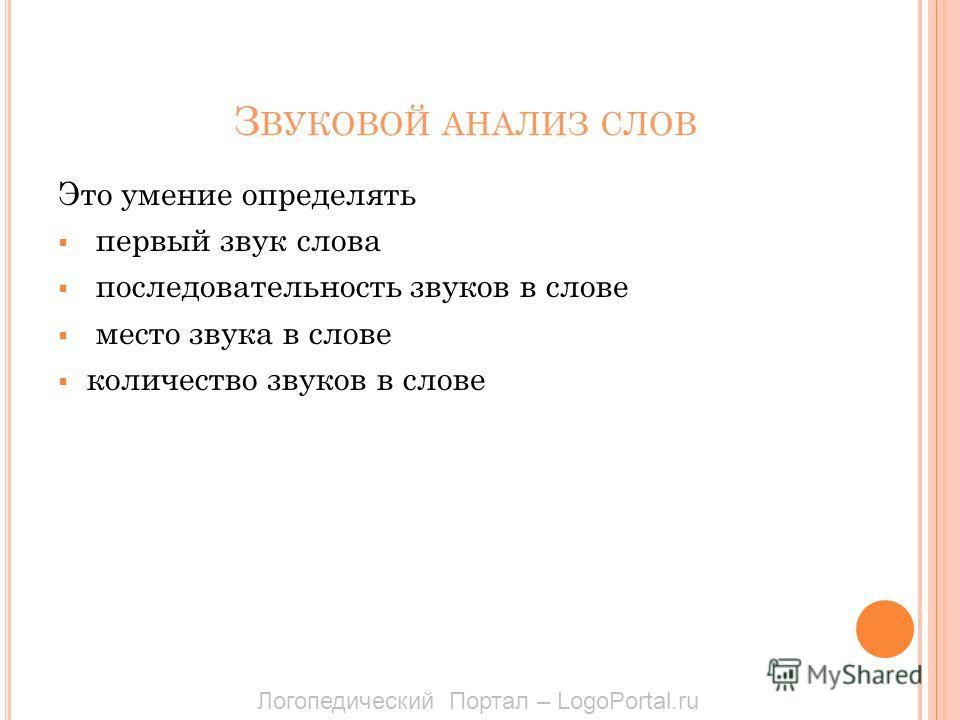 З ВУКОВОЙ АНАЛИЗ СЛОВ Это умение определять первый звук слова последовательность звуков в слове место звука в слове количество звуков в слове Логопедический Портал – LogoPortal.ru