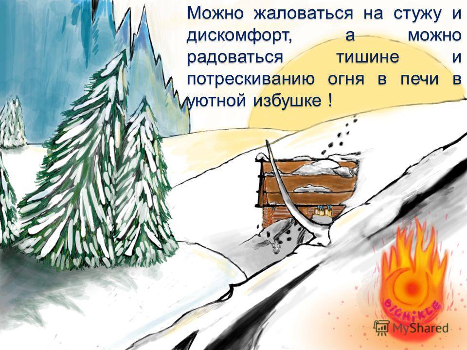 Можно жаловаться на стужу и дискомфорт, а можно радоваться тишине и потрескиванию огня в печи в уютной избушке !
