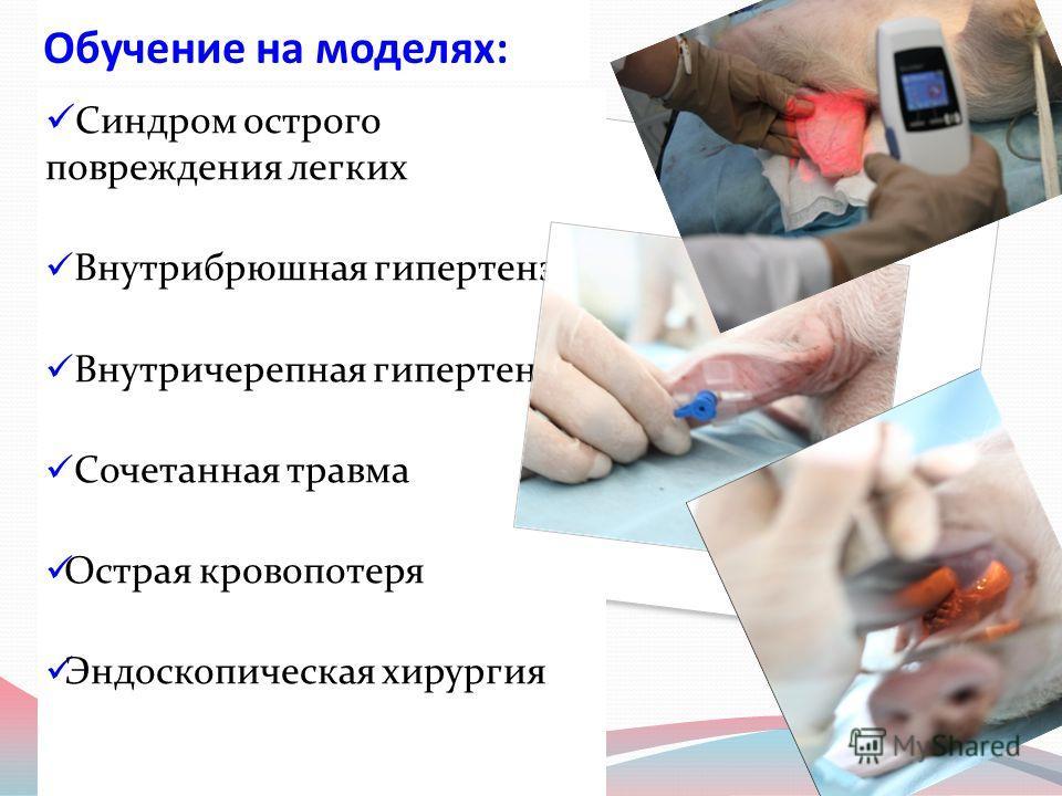 Обучение на моделях: Синдром острого повреждения легких Внутрибрюшная гипертензия Внутричерепная гипертензия Сочетанная травма Острая кровопотеря Эндоскопическая хирургия