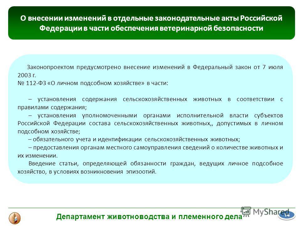 Законопроектом предусмотрено внесение изменений в Федеральный закон от 7 июля 2003 г. 112-ФЗ «О личном подсобном хозяйстве» в части: – установления содержания сельскохозяйственных животных в соответствии с правилами содержания; – установления уполном