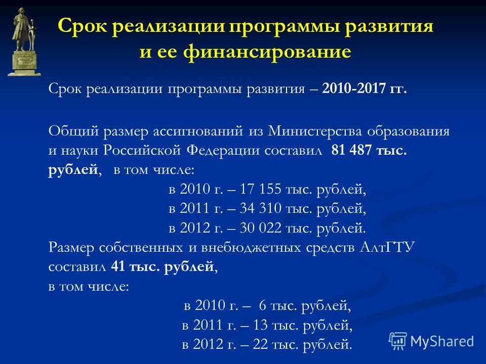 Срок реализации программы развития – 2010-2017 гг. Общий размер ассигнований из Министерства образования и науки Российской Федерации составил 81 487 тыс. рублей, в том числе: в 2010 г. – 17 155 тыс. рублей, в 2011 г. – 34 310 тыс. рублей, в 2012 г.