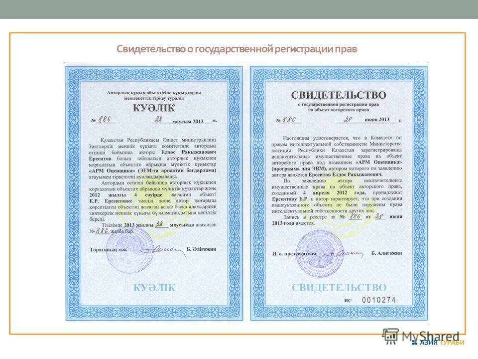 Свидетельство о государственной регистрации прав