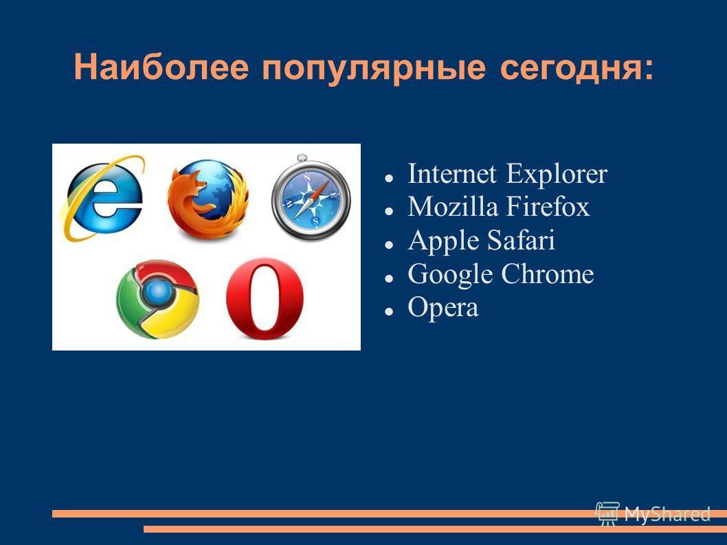 Наиболее популярные сегодня: Internet Explorer Mozilla Firefox Apple Safari Google Chrome Opera