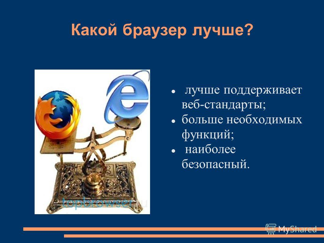 Какой браузер лучше? лучше поддерживает веб-стандарты; больше необходимых функций; наиболее безопасный.