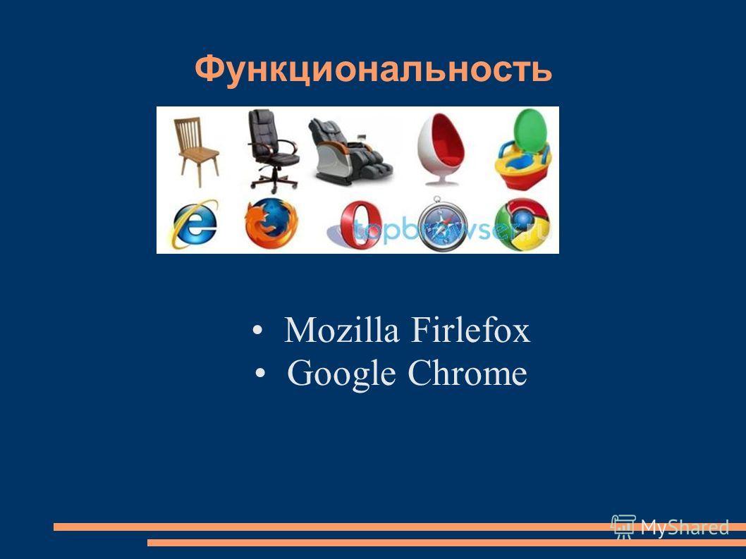 Функциональность Mozilla Firlefox Google Chrome