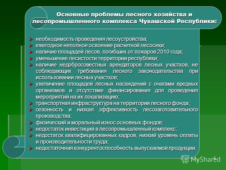 5 Основные проблемы лесного хозяйства и лесопромышленного комплекса Чувашской Республики: необходимость проведения лесоустройства; необходимость проведения лесоустройства; ежегодное неполное освоение расчетной лесосеки; ежегодное неполное освоение ра