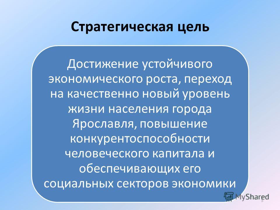 Стратегическая цель Достижение устойчивого экономического роста, переход на качественно новый уровень жизни населения города Ярославля, повышение конкурентоспособности человеческого капитала и обеспечивающих его социальных секторов экономики 5
