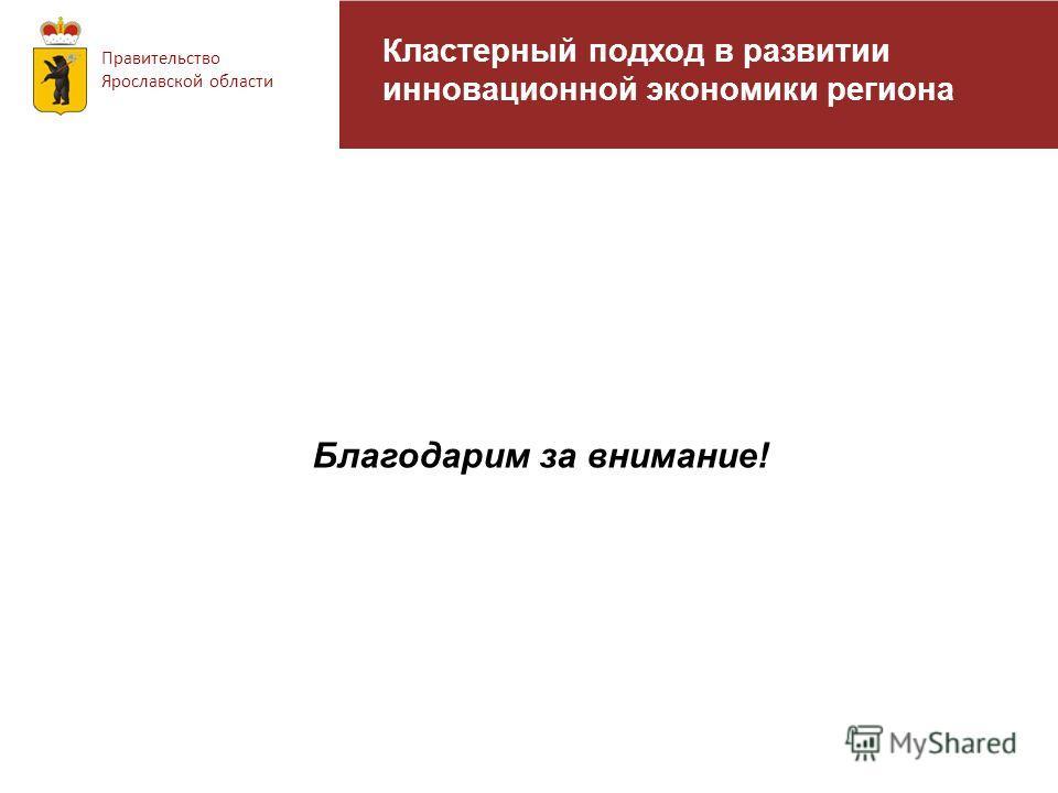 Правительство Ярославской области Кластерный подход в развитии инновационной экономики региона Благодарим за внимание!