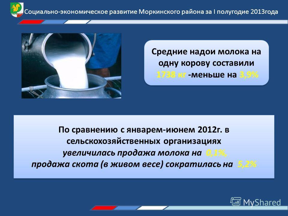 Социально-экономическое развитие Моркинского района за I полугодие 2013года Средние надои молока на одну корову составили 1738 кг -меньше на 3,9% Средние надои молока на одну корову составили 1738 кг -меньше на 3,9% По сравнению с январем-июнем 2012г