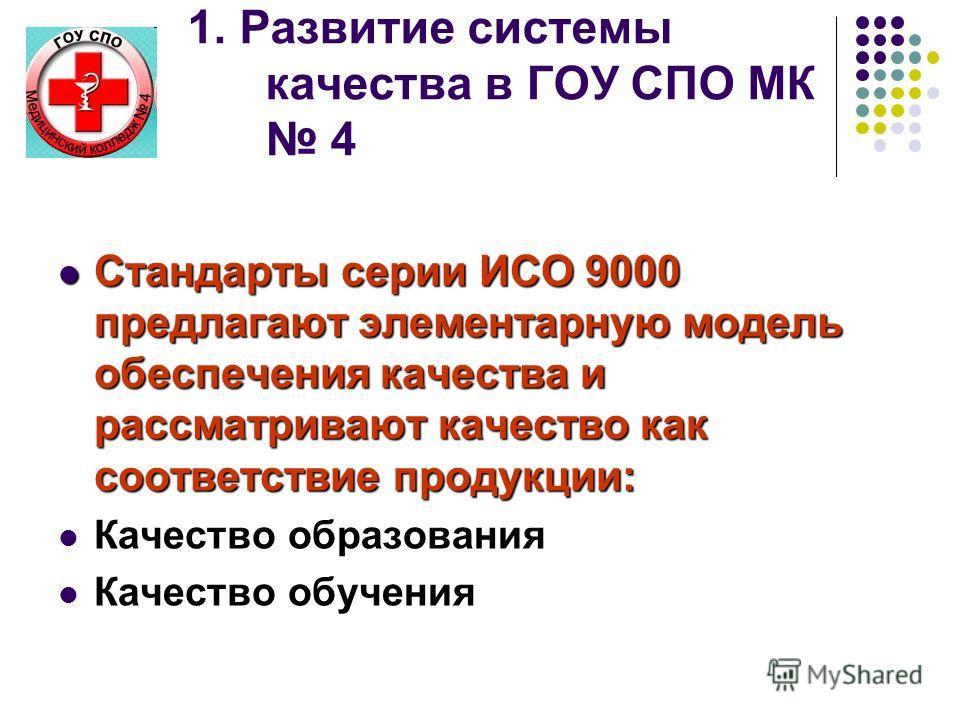 1. Развитие системы качества в ГОУ СПО МК 4 Стандарты серии ИСО 9000 предлагают элементарную модель обеспечения качества и рассматривают качество как соответствие продукции: Стандарты серии ИСО 9000 предлагают элементарную модель обеспечения качества