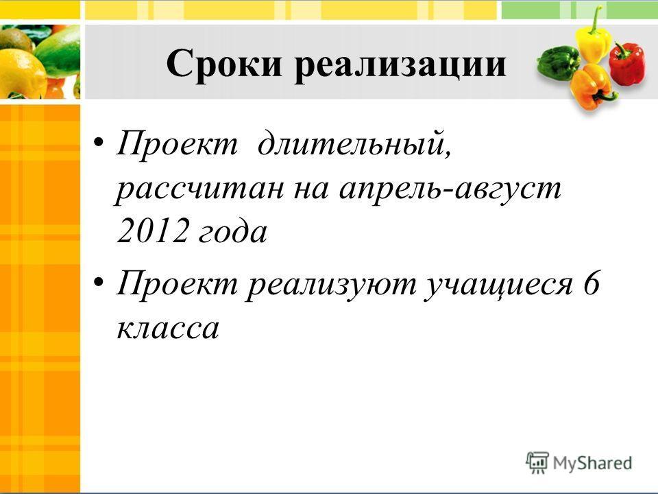 Проект длительный, рассчитан на апрель-август 2012 года Проект реализуют учащиеся 6 класса