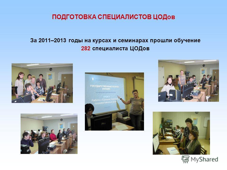 За 2011–2013 годы на курсах и семинарах прошли обучение 282 специалиста ЦОДов ПОДГОТОВКА СПЕЦИАЛИСТОВ ЦОДов